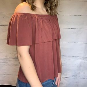 Rust coloured off the shoulder top